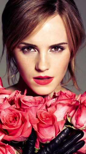 Emma Watson With Red Roses 4K Ultra HD Mobile Wallpaper