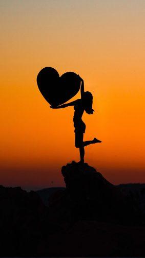 Girl Love Heart Sunset 4K Ultra HD Mobile Wallpaper