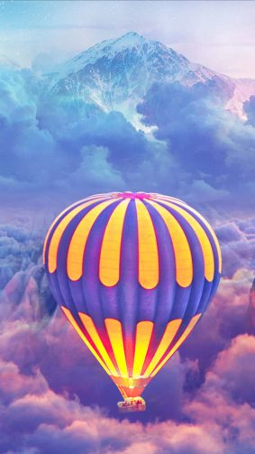 Hot Air Balloons Over The Cloud Mountain 4K Ultra HD Mobile Wallpaper