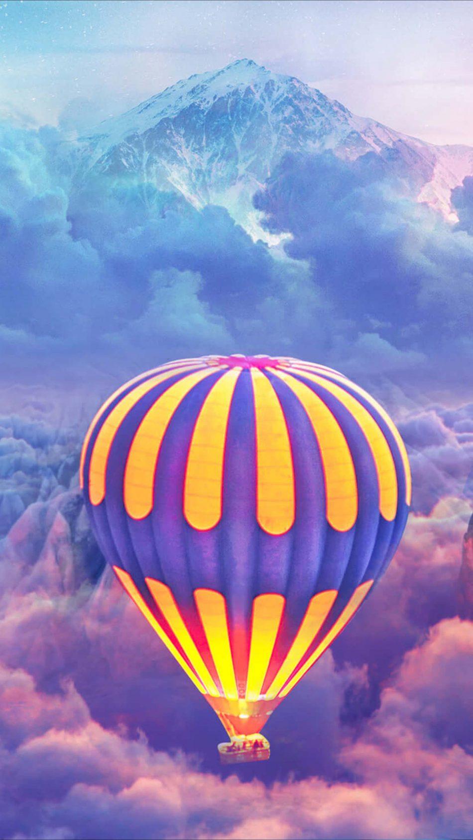 Hot Air Balloons Over The Cloud Mountain 4K Ultra HD Mobile Wallpaper