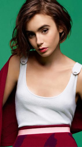 Lilly Collins Portrait Short Hair 4K Ultra HD Mobile Wallpaper