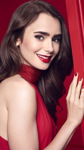 Lily Collins In Red Dress 4K Ultra HD Mobile Wallpaper
