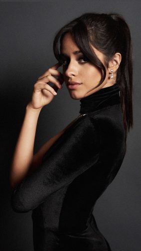 Camila Cabello In Black Dress Dark Background 4K Ultra HD Mobile Wallpaper