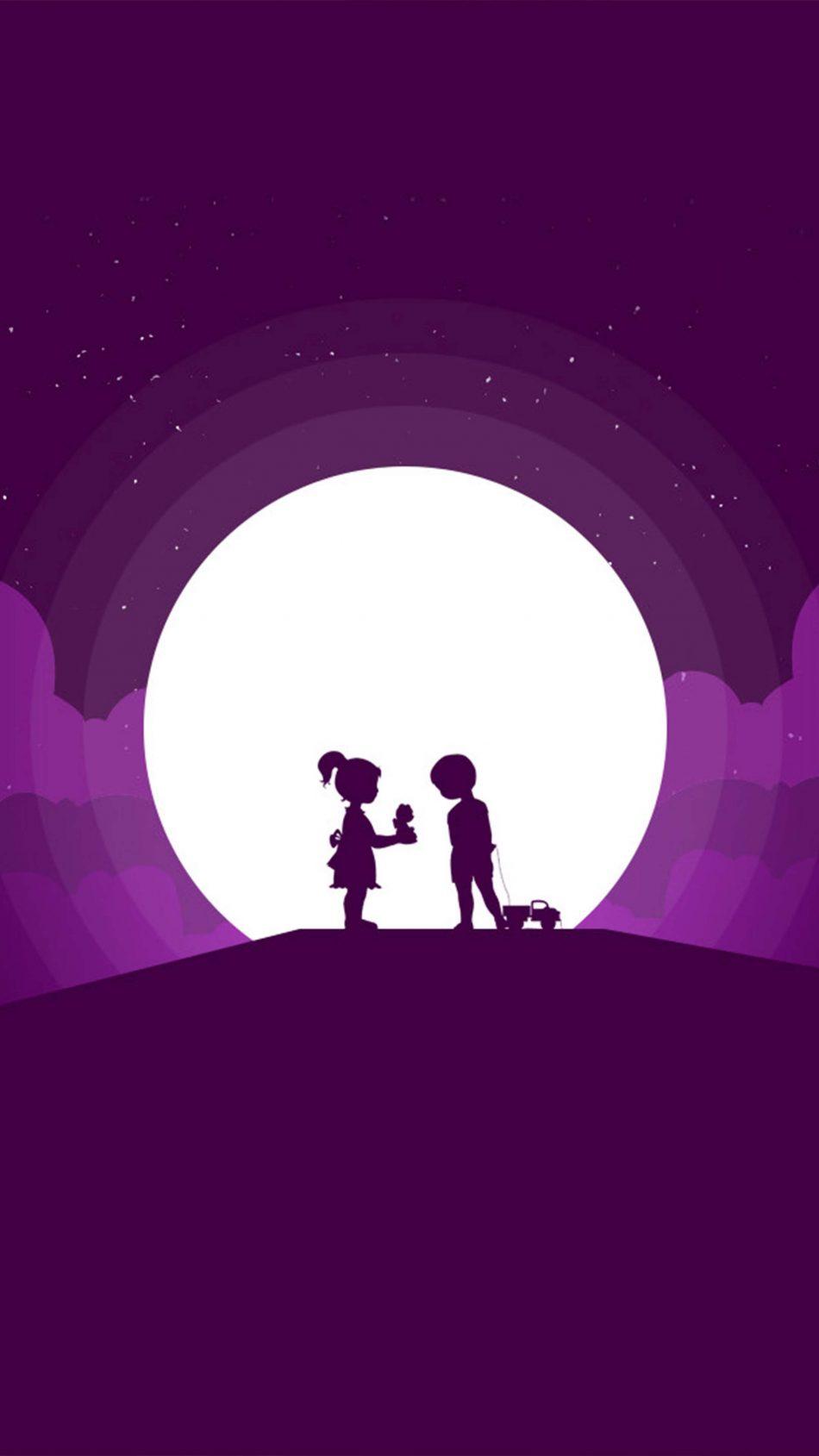 Couple Kids Moon Minimal Silhouette 4K Ultra HD Mobile Wallpaper