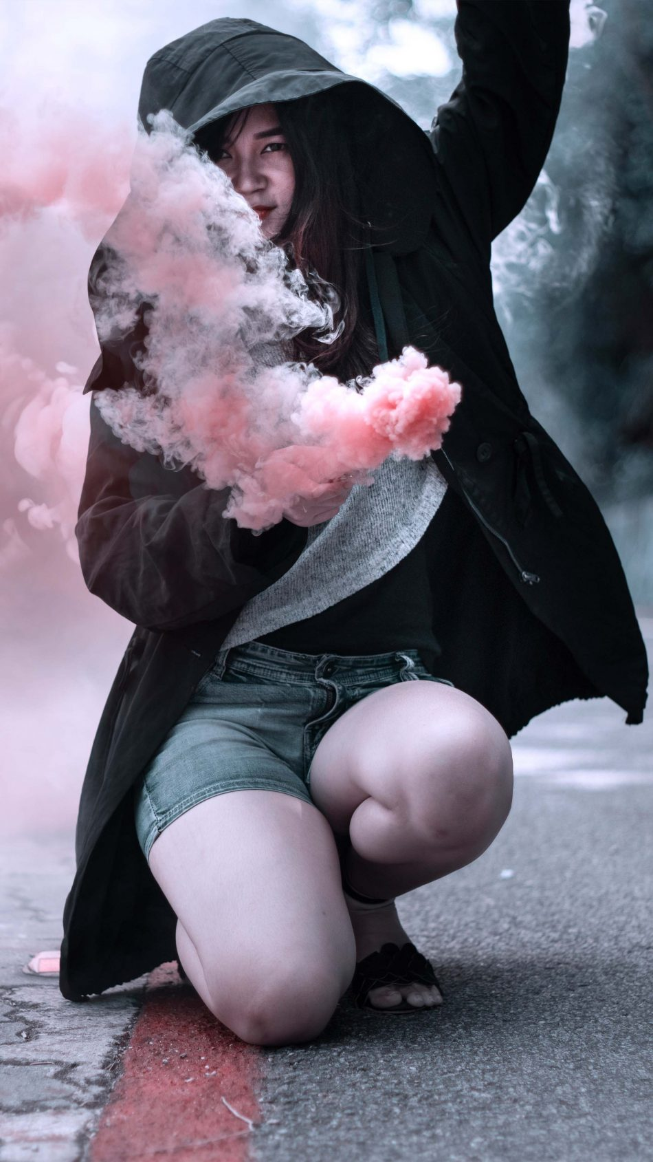 Girl Hoodie Colorful Smoke Bombs Street Portrait 4K Ultra HD Mobile Wallpaper
