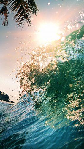 Ocean Waves Sun 4K Ultra HD Mobile Wallpaper