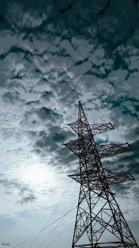 Electric Tower Sun Clouds 4K Ultra HD Mobile Wallpaper
