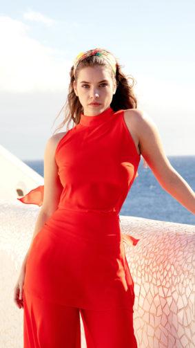 Barbara Palvin In Red Dress 4K Ultra HD Mobile Wallpaper
