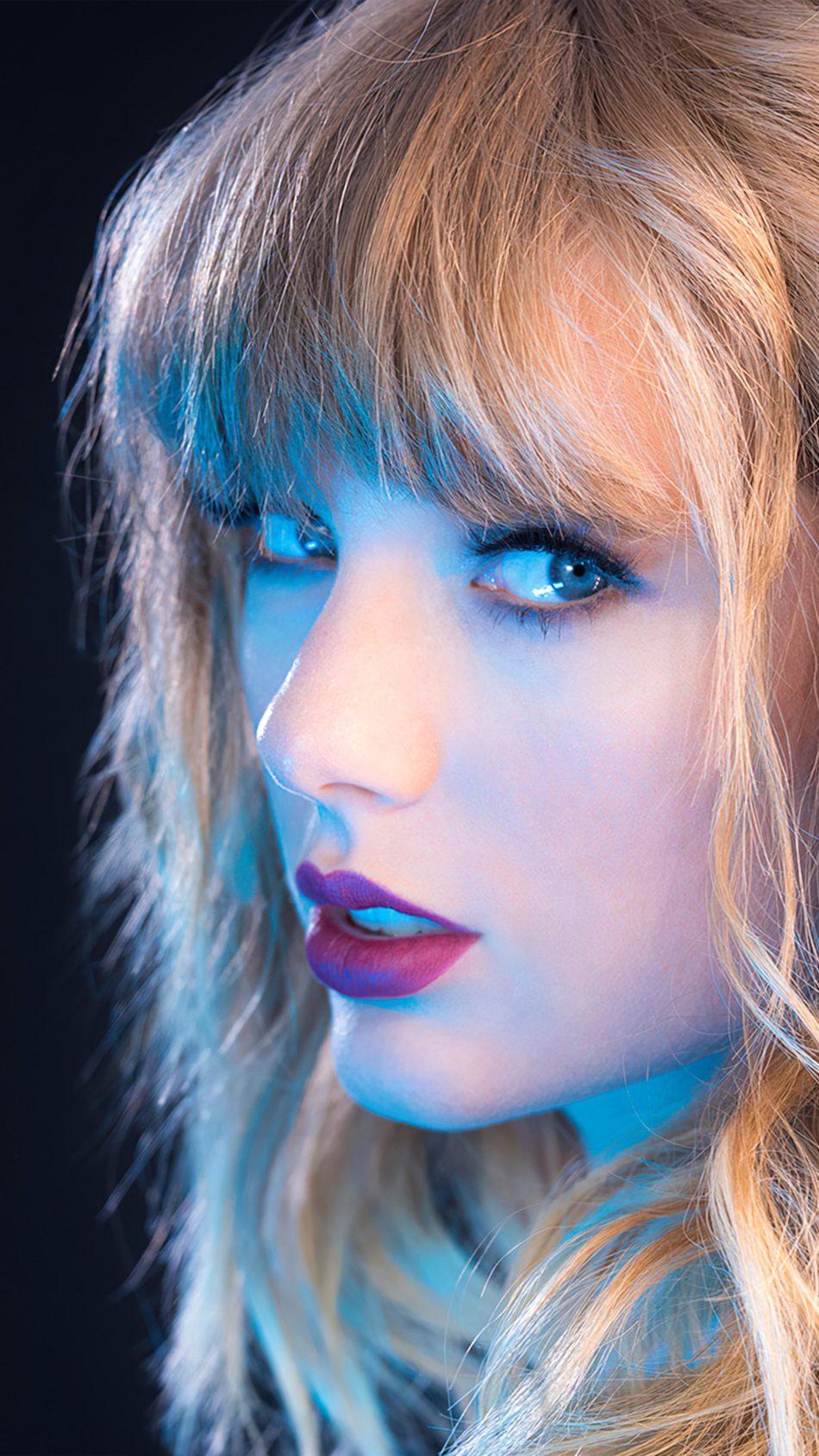 Beautiful Taylor Swift Blue Neon 4K Ultra HD Mobile Wallpaper