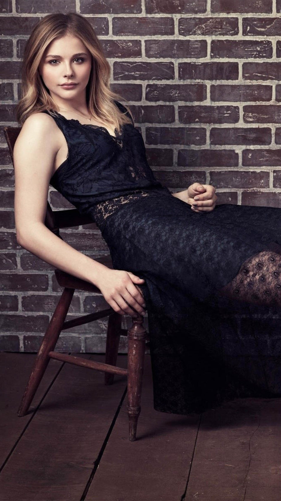 Chloe Moretz Black Dress Photoshoot 4K Ultra HD Mobile Wallpaper