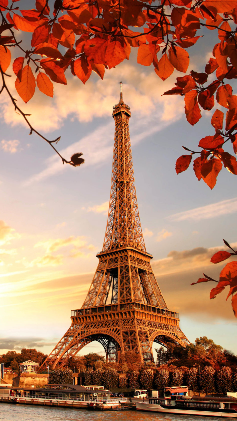 Eiffel Tower Autumn Sunset 4K Ultra HD Mobile Wallpaper