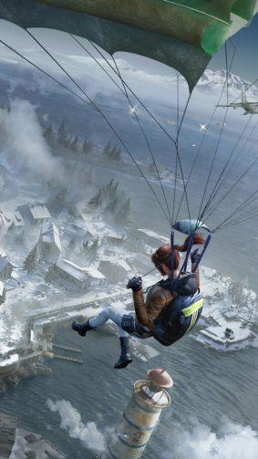 PUBG Girl Parachute Vikendi 4K Ultra HD Mobile Wallpaper