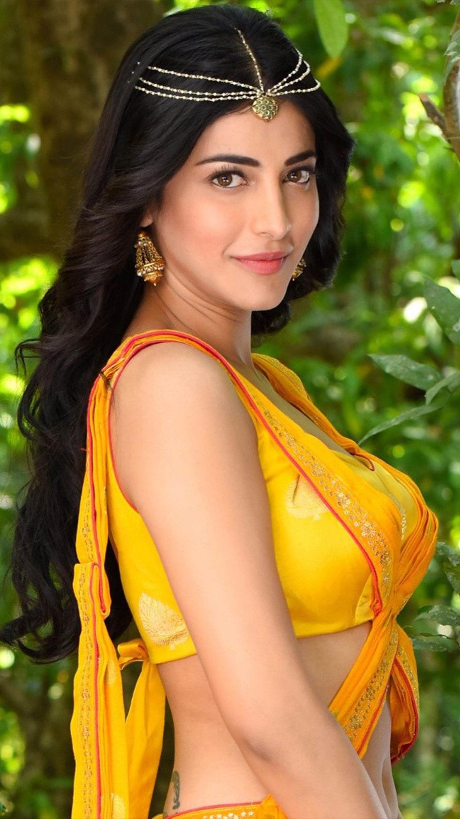Shruti Haasan In Beautiful Yellow Dress 4K Ultra HD Mobile Wallpaper