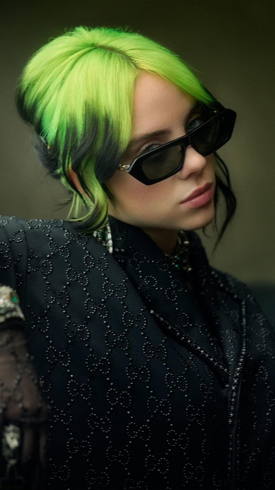 Singer Billie Eilish Green Hair 4K Ultra HD Mobile Wallpaper