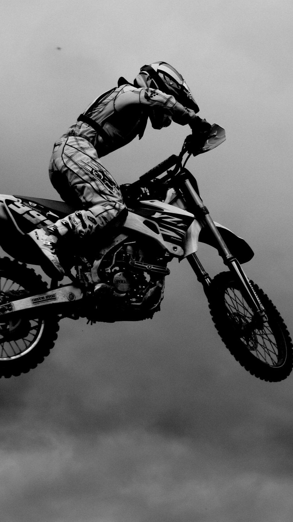 Motocross Black & White 4K Ultra HD Mobile Wallpaper