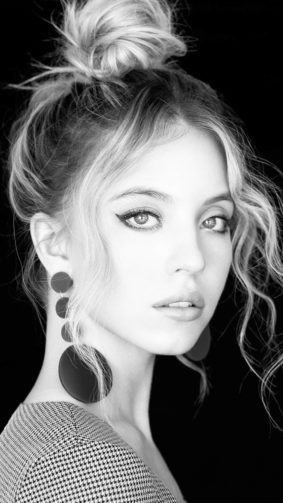 Sydney Sweeney Black & White Photoshoot 4K Ultra HD Mobile Wallpaper