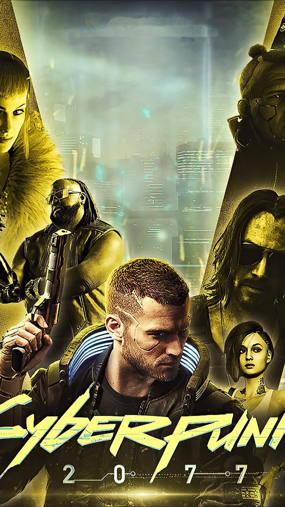 Cyberpunk 2077 Gold 4K Ultra HD Mobile Wallpaper