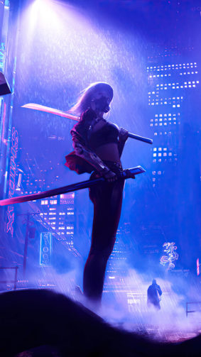 Girl Fighter Night City Cyberpunk 2077 4K Ultra HD Mobile Wallpaper
