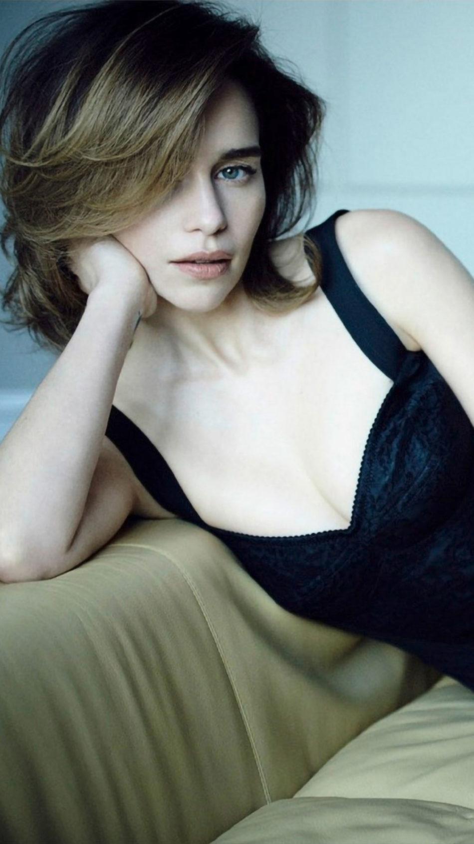Emilia Clarke In Black Dress Photoshoot 4K Ultra HD Mobile Wallpaper