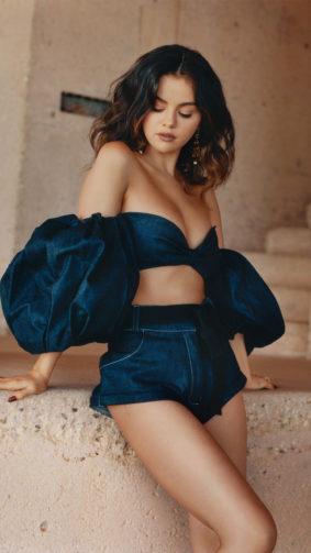 Selena Gomez Photoshoot Blue Dress 4K Ultra HD Mobile Wallpaper