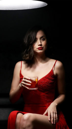 Beautiful Ana de Armas Red Dress With Drink 4K Ultra HD Mobile Wallpaper