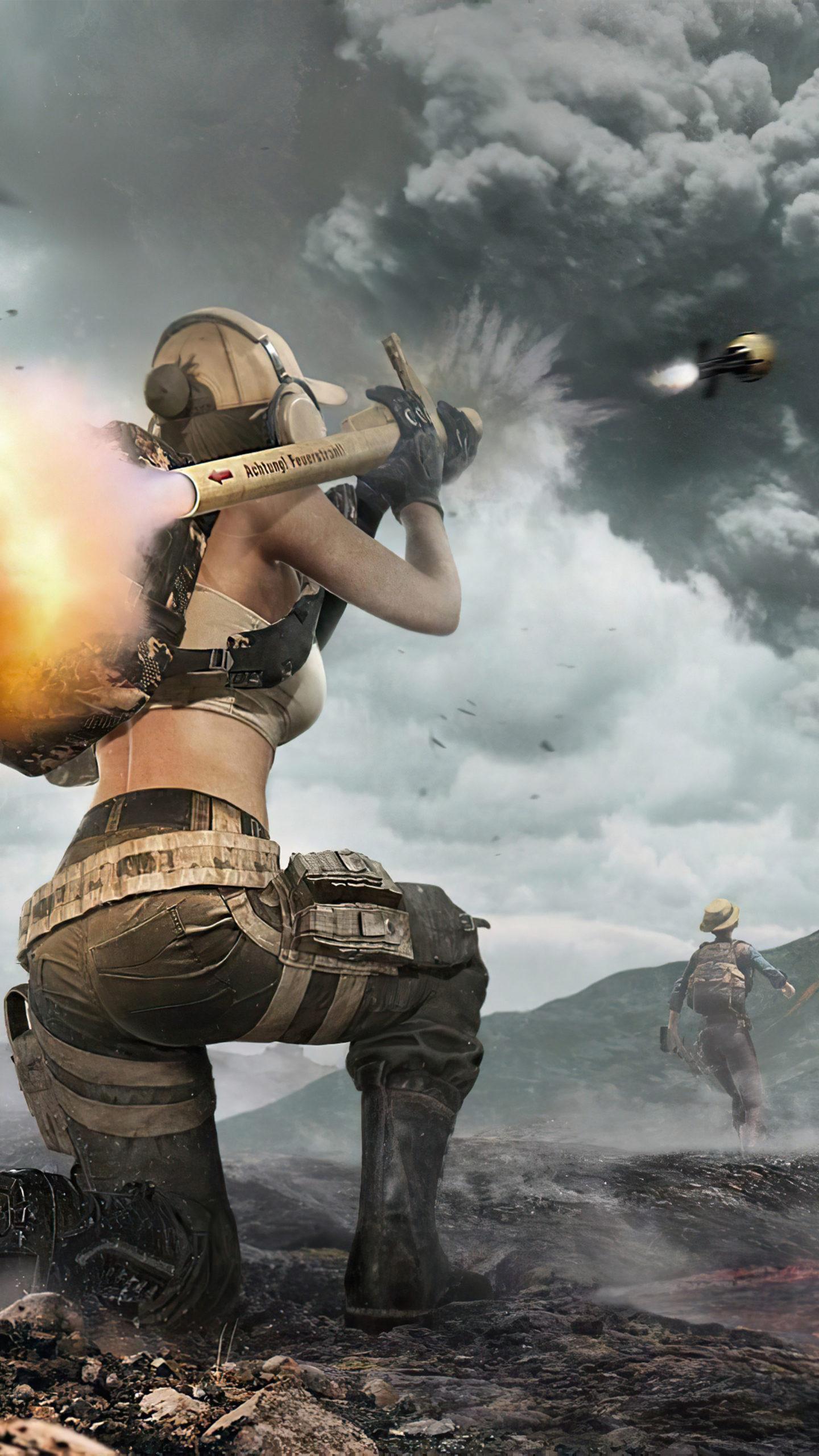 PUBG Girl Rocket Fire 4K Ultra HD Mobile Wallpaper