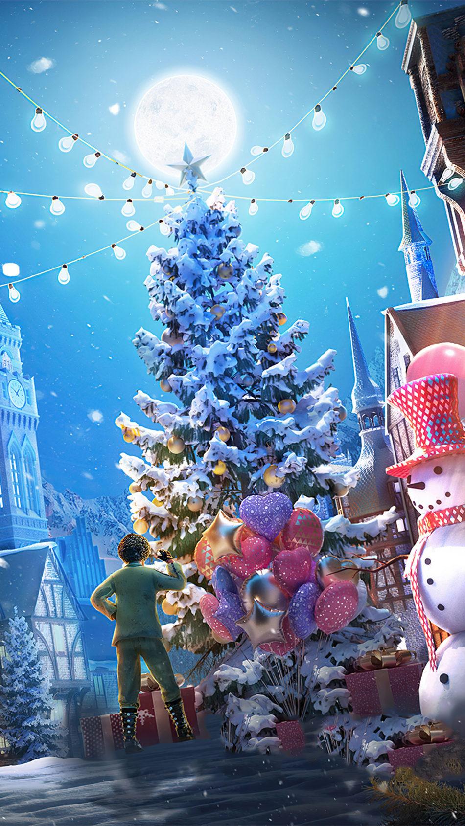 PUBG Mobile Christmas Tree 4K Ultra HD Mobile Wallpaper
