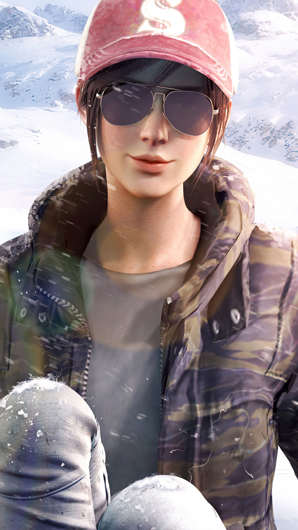 PUBG Girl Snowfall 4K Ultra HD Mobile Wallpaper