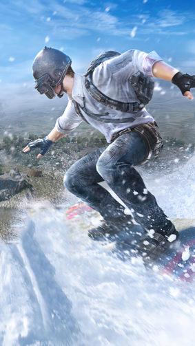 PUBG Helmet Guy Snowboard Winter 4K Ultra HD Mobile Wallpaper