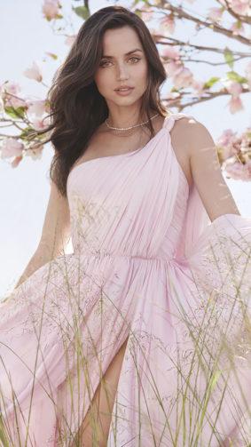 Ana de Armas Outdoor Photoshoot Flowers 4K Ultra HD Mobile Wallpaper