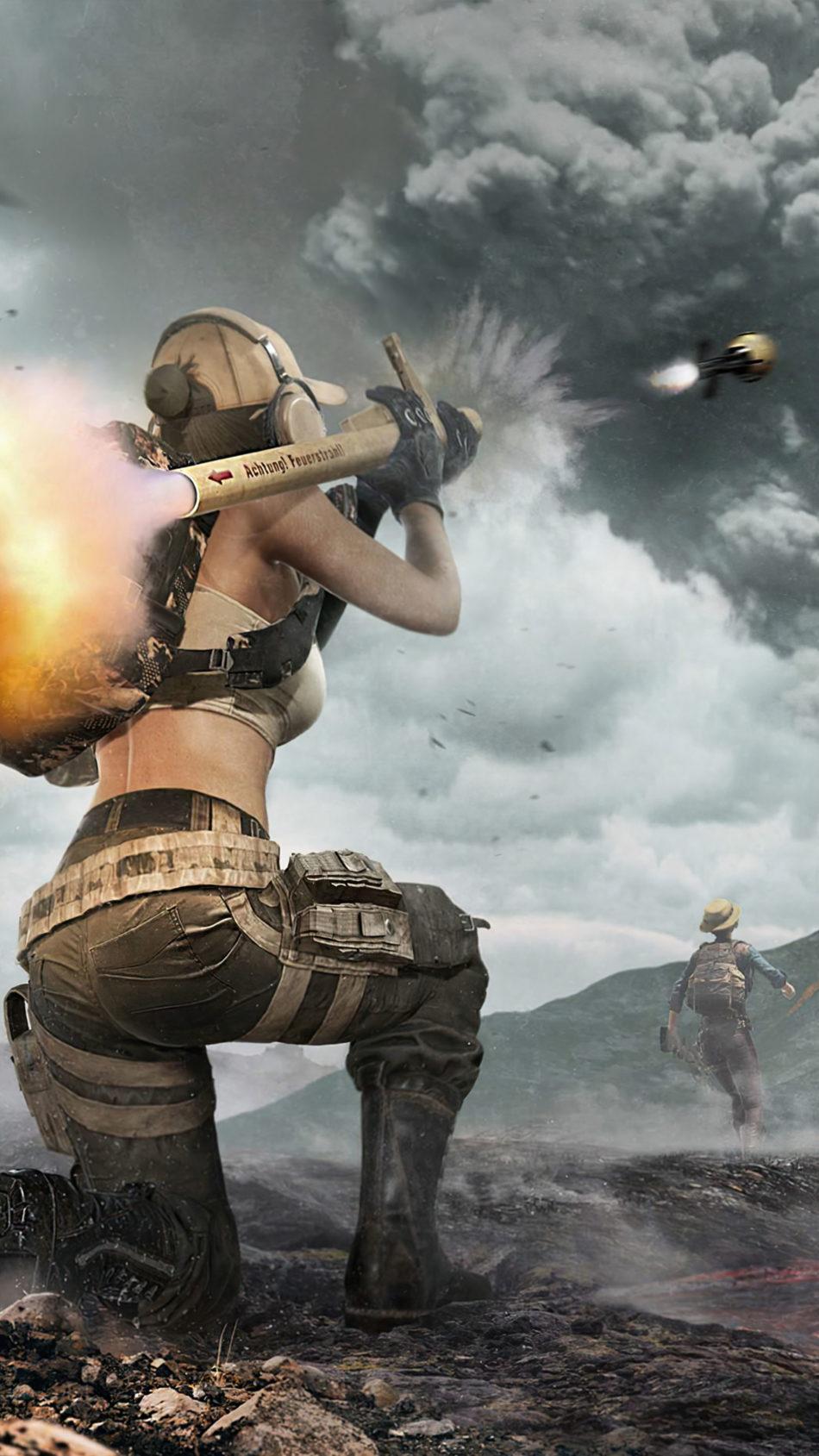 PUBG Girl Rocket Launcher Open World Fight 4K Ultra HD Mobile Wallpaper
