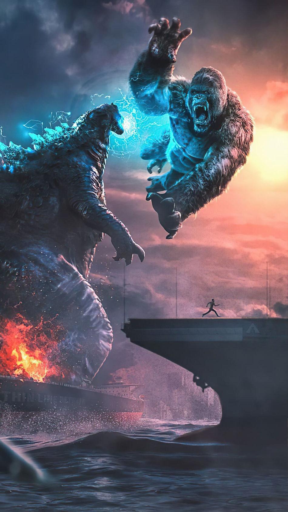 Godzilla Vs Kong Fighting 4K Ultra HD Mobile Wallpaper