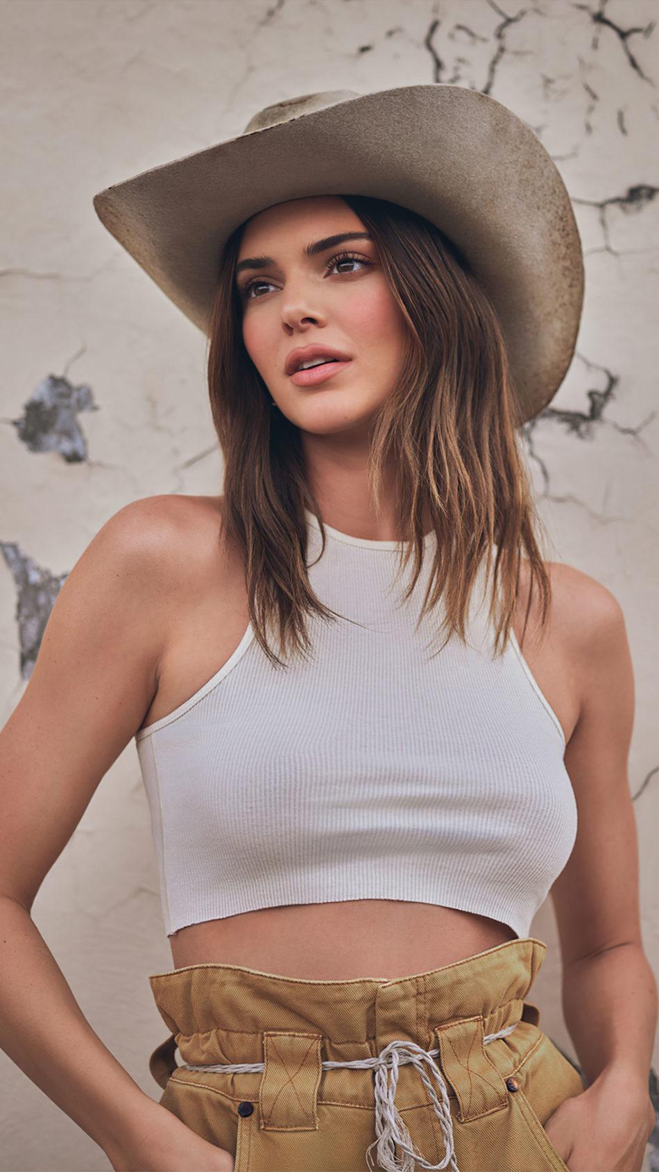 Kendall Jenner Wearing Cowboy Style Hat 2021 Photoshoot 4K Ultra HD Mobile Wallpaper