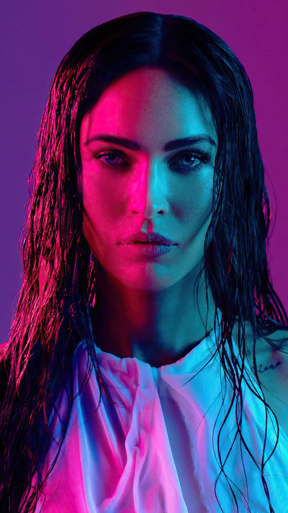 Megan Fox 2021 Neon Photoshoot 4K Ultra HD Mobile Wallpaper