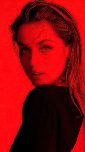Ana de Armas Red Filter Photoshoot 4K Ultra HD Mobile Wallpaper